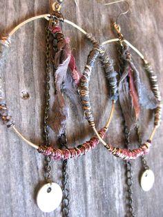 Big Hoop Earrings Hippie Bohemian Earrings by DeerGirlDesigns. $30.00 USD, via Etsy.