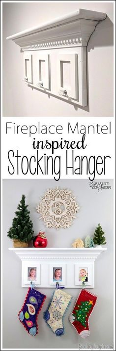 Make this Fireplace Mantel-inspired Stocking Hanger Shelf for Christmas! {Reality Daydream}