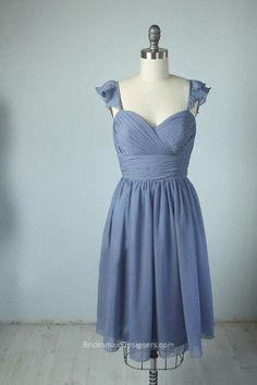 Steel Blue Short Flutter Sleeved Bridesmaid Dress