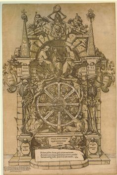 Andrea Andreani  After Giovanni Fortuna  Date 1588 Triumph of Death, with the three fates in an architectural frame above a wheel of fortune flanked by skeletons; at the top a skull and hour-glass. 1588 Chiaroscuro woodcut; a second piece of paper with a skeleton and the word 'Mus' is pasted onto the centre of the wheel