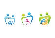 Family, parenting, dental care logo, dentist health education symbol, family illustration icon set design vector Royalty Free Stock Photos