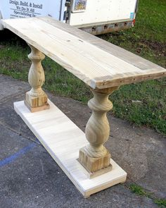 Console Table Handcrafted Unfinished Balustrade by TheWoodworkMan