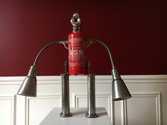 "Original Lamp ""Fire & Water"" #art #extinguisher #fire #ikea #invention #lamp #light #maker #metal #recycling #robot #upcycling Summer is propitious to outdoor seconds hands markets, and I often find IKEA items there. This time, I got 2 feet Sultan sofa and a pair of Kvart lamp..."
