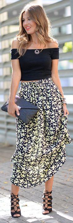 Floral Maxi Skirt Outfit Idea by Mi Aventura Con La Moda