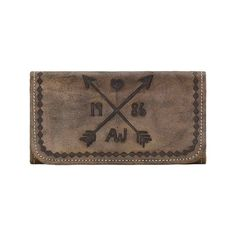 Women's American West Cross My Heart Tri-Fold Wallet Small Leather ($98) ❤ liked on Polyvore featuring bags, wallets, brown wallet, real leather wallets, brown leather wallet, genuine leather wallet and leather trifold wallet