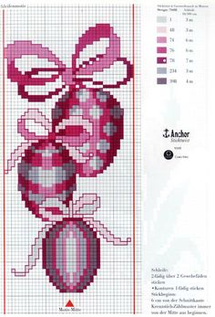 Schematic cross stitch Eggs With Bow