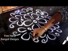 simple and easy free hand rangoli designs Rangoli Designs Peacock, Rangoli Side Designs, Rangoli Designs Latest, Simple Rangoli Designs Images, Free Hand Rangoli Design, Small Rangoli Design, Rangoli Patterns, Rangoli Ideas, Rangoli Designs Diwali