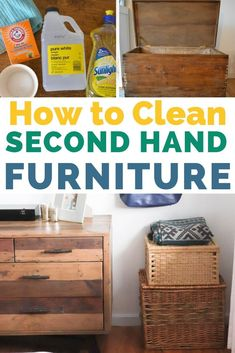 3 simple ways to deep clean used furniture from thrift stores. What tools and supplies I use to get rid of smells, stains, and more. Plus, tips and tricks to keep the smell away. Thrift Store Furniture, Thrift Store Crafts, Repurposed Furniture, Thrift Stores, Online Thrift, Thrift Store Decorating, Second Hand Furniture, How To Clean Furniture, Deep Cleaning