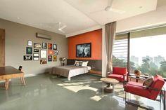 Ajay Patel Residence | Dipen Gada & Associates Indian Home Design, Indian Home Decor, Living Room Flooring, Living Room Decor, Home Building Design, House Design, Kota Stone Flooring, Dipen Gada, Hall Interior Design