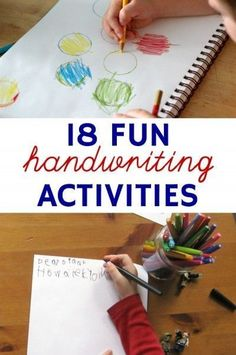 Fun Handwriting Activities for Kids (Even the Reluctant Ones) Fun handwriting activities for kids that even reluctant kids will enjoy.Fun handwriting activities for kids that even reluctant kids will enjoy. Spelling And Handwriting, Teaching Handwriting, Handwriting Activities, Handwriting Practice, Cursive, Handwriting Worksheets, Kindergarten Handwriting, Handwriting Ideas, Improve Handwriting