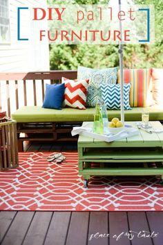 DIY pallet furniture-patio makeover- www.placeofmytaste.com