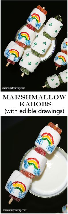 MARSHMALLOW KABOBS with edible drawings. Kids love to make these and get very creative!  From cakewhiz.com