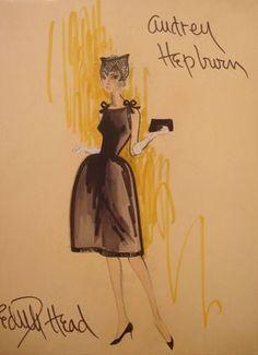 Edith Head sketch for Audrey Hepburn
