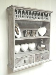 Look out for something like this at the market. I won't wall mount it, but I think it'd be okay up against a wall on top of my desk Shabby Chic Wall Unit Shelf Storage Cupboard Cabinet French Vintage Style NEW