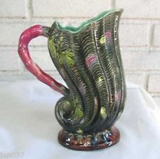 Antique Fielding Majolica Figural Shell Pitcher: Great Form & Color; 9 & 3/4 in.