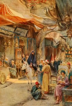 Tyndale, Walter (1855-1943) - An Artist in Egypt 1912, The Khan Khalil, Cairo. #egypt