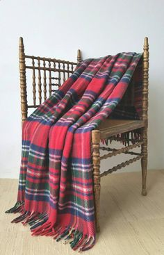Camping Blanket - Vintage HORNER Red Plaid Tartan Camp Blanket RESCUE or UPCYCLER | red, cobalt blue, emerald green, white, yellow | some condition issues by CarliBeardsleyStudio on Etsy