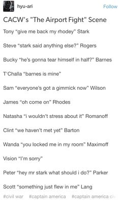 "I just about died when Tony said Give me back my Rhodey. Although it should be T'Challa ""I don't care""."