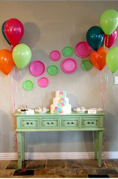 I love the wall art made from Hot Pink and Line Green Paper Dinner and Dessert Plates!  Perfect for a Fun Polka Dots party!