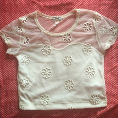 Mesh crop top Cream floral mesh crop top. Kirra Tops Crop Tops