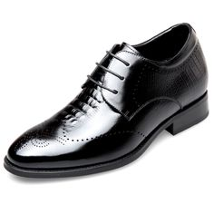 b4a2d58d9a422f Boutique Elevator Brogue Derby Shoes Heighten 2.6inch   6.5cm Black Carved  Cowhide Taller Tuxedo Shoes