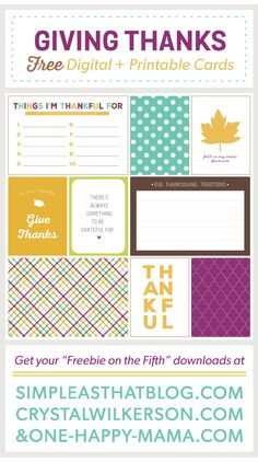 Giving Thanks Journaling and Filler Cards for Thanksgiving - simple as that