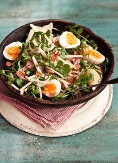 fennel, apple, radish + watercress salad with soft boiled egg + dijon vinaigrette dressing, what katie ate. Radish Salad, Watercress Salad, Egg Salad, Apple Salad, Penne, Vegetarian Recipes Easy, Healthy Recipes, What Katie Ate, Feta