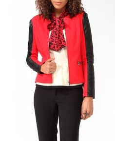So fun! Red & Black (Faux) Leather Trimmed Racer Jacket
