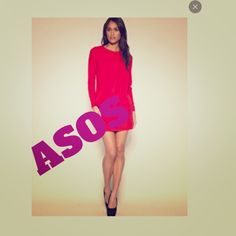 Fuchsia Asos dress Size 8 long sleeve fuchsia dress high neck with pleats back zipper dress is unlined bust 36 waist and hips 40 inches length is 35 inches ASOS Dresses