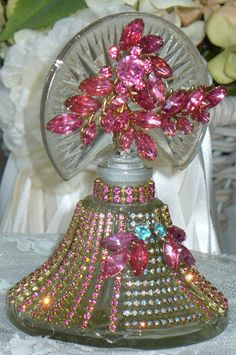 Antique Bejeweled Perfume Bottle 15 By Debbie Del Rosario-Antique, Perfume, Weiss, Rhinestones, Glass, Crystal, Victorian,