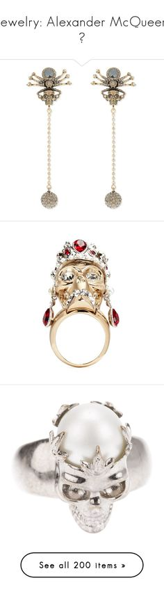 """""""Jewelry: Alexander McQueen 💀"""" by mermaiden ❤ liked on Polyvore featuring jewelry, earrings, gold, skull jewellery, alexander mcqueen earrings, yellow gold jewelry, alexander mcqueen jewelry, yellow gold earrings, rings and metallic"""