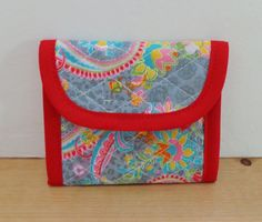 Light Grey Red Pink Blue Paisley Print Quilted Wallet by RoxannasBags on Etsy