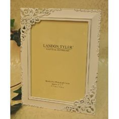 Baroque Photo Picture Frame  Distressed White With Cut Out Detail