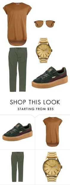 """""""puma creepers"""" by kenberlyn8 on Polyvore featuring Puma, Topman, Hurley, Nixon, Persol, men's fashion and menswear"""