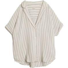 Masscob Seersucker Top ($291) ❤ liked on Polyvore featuring tops, blouses, shirts, t-shirts, black, short sleeve shirts, sheer button-down shirts, sheer shirt, button down blouse and button down shirts