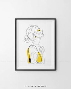 Abstract Line Illustration, Minimal Face Drawing In Lines, Printable Yellow Fashion Sketch, Drawn Female Portrait, Minimalist Woman Art. INSTANT DOWNLOAD This listing is for a DIGITAL FILE of this artwork. No physical item will be sent. You can print the file at home, at a local print