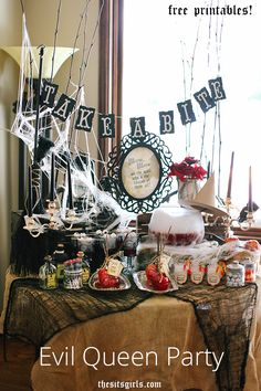 Give your Halloween party a royal twist! If you love the original Queen Grimhilde from Snow White or if Regina of Once Upon A Time is your favorite - this party is the perfect way to celebrate your favorite Evil Queen. | Evil Queen Halloween Party Ideas + Free Printables