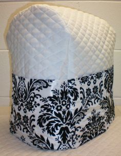 White Quilted Damask Cover for Sunbeam Heritage Series 4.6qt Mixmaster Stand Mixer w/6 Pockets