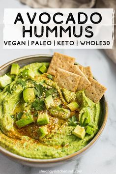 Healthy Snacks 733312751812383216 - Whole 30 Avocado Hummus Avocado Hummus, Healthy Appetizers, Appetizer Recipes, Healthy Snacks, Dinner Healthy, Eat Healthy, Paleo Whole 30, Whole 30 Recipes, Whole 30 Snacks
