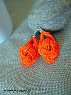 RESERVEES Boucles d'oreilles Miyuki fait main Fantaisie Orange Bohostyle Bohemian Bohochic : Boucles d'oreille par m-comme-maryna