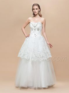Graceful A-Line Strapless Beading Embroidery Floor-Length Charming Wedding Dress 10899328