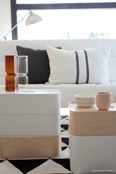 iittala vakka boxes can be stacked to form side tables.