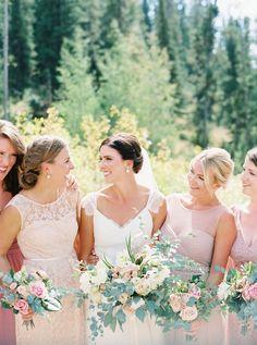 Bridesmaids' Dresses: Jenny Yoo - http://www.jennyyoo.com Floral Design: Labellum - http://www.stylemepretty.com/portfolio/labellum Wedding Dress: BHLDN - http://www.bhldn.com/   Read More on SMP: http://www.stylemepretty.com/2017/02/09/romantic-montana-ranch-wedding-with-to-die-for-views/