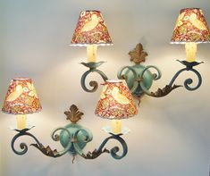 Pair vintage sconces in wrought iron with four handmade lampshades of your choice Vintage Egg Cups, Handmade Lampshades, Wrought Iron Chandeliers, Murano Chandelier, Teal Fabric, William Morris, Sconces, Wall Lights, Shabby Chic