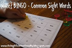Free Sight Word Bing