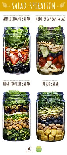 "30 Mason Jar Salad Recipes: A Month Worth of ""Salad in a Jar"" Recipes - Healthy Food Mason Jar Meals, Meals In A Jar, Mason Jars, Mason Jar Recipes, Mason Jar Lunch, Mason Jar Smoothie, Pot Mason, Shaking Salad, High Protein Salads"