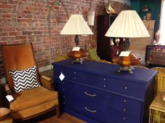 Love the midnight blue on this midcentury dresser.