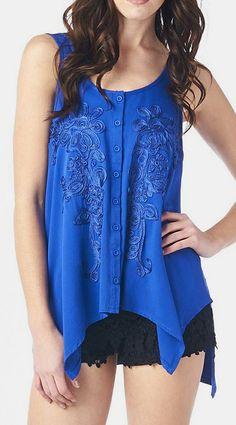 Royal Blue Button-Up Handkerchief Tank-love the shirt, hate the shorts