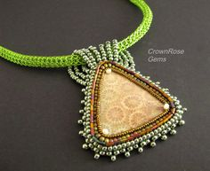 CORALIA  Pendant necklace. Mixed media. Wire weaving, bead embroidery and bead weaving. 19 inch length. on Etsy, $195.00