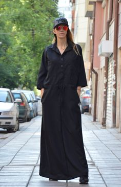 Black Maxi Dress / Extravagant Long Dress with 7/8 by SSDfashion